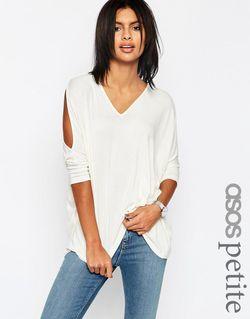 Мягкий Оversize-Топ С Открытыми Плечами И Асимметричной ASOS PETITE                                                                                                              серый цвет