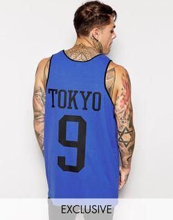 Длинная Майка С Принтом Tokyo На Спине Reclaimed Vintage                                                                                                              Синий цвет