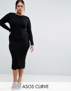 Облегающее Платье Миди Черный ASOS CURVE                                                                                                              чёрный цвет