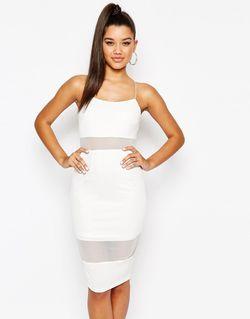 Платье На Тонких Бретельках С Сетчатой Вставкой NaaNaa                                                                                                              белый цвет