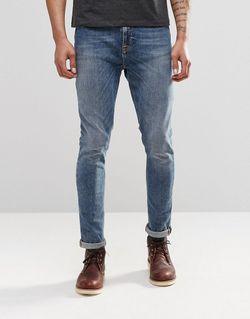 Синие Супероблегающие Джинсы Скинни Nudie Pipe Led Nudie Jeans Co                                                                                                              синий цвет