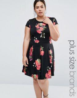Короткое Приталенное Платье С Цветочным Принтом Plus Praslin                                                                                                              None цвет