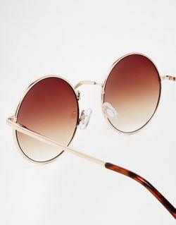 Маленькие Круглые Солнцезащитные Очки Asos ASOS Collection                                                                                                              золотой цвет