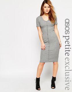 Облегающее Платье В Рубчик На Пуговицах ASOS PETITE                                                                                                              серый цвет