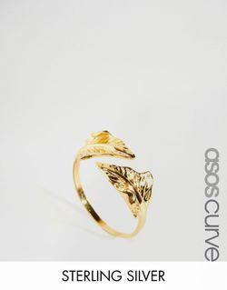 Позолоченное Серебряное Кольцо С Листом Золотой ASOS CURVE                                                                                                              золотой цвет