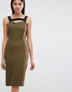 Платье С Контрастными Лямками Хаки Love                                                                                                              хаки цвет
