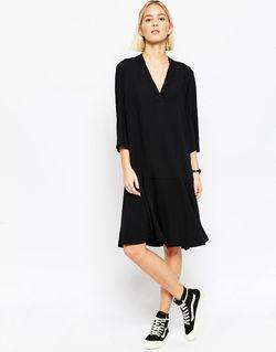 Платье Миди С Расклешенной Юбкой Черный ASOS WHITE                                                                                                              чёрный цвет
