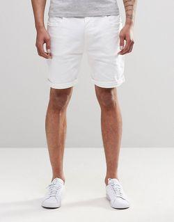 Белые Эластичные Джинсовые Шорты Слим Белый Asos                                                                                                              белый цвет