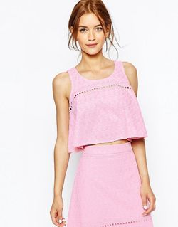 Майка-Трапеция С Цветочной Вышивкой Розовый House Of Holland                                                                                                              розовый цвет
