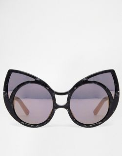Солнцезащитные Очки Кошачий Глаз В Фигурной Оправе Linda Farrow                                                                                                              чёрный цвет