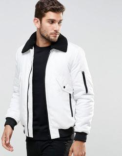 Белая Курткапилот С Воротником Борг Белый Asos                                                                                                              белый цвет