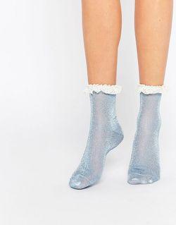 Блестящие Носки С Кружевной Отделкой Синий Asos                                                                                                              синий цвет