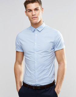 Голубая Клетчатая Рубашка Зауженного Кроя С Короткими Asos                                                                                                              синий цвет