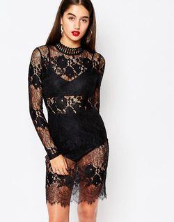 Облегающее Кружевное Платье С Высокой Горловиной Черный MISSGUIDED                                                                                                              черный цвет
