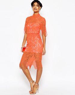 Платье Миди С Укороченным Кружевным Топом И Asos                                                                                                              оранжевый цвет