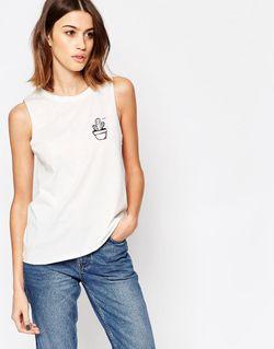 Топ С Логотипом-Кактусом Белый Vero Moda                                                                                                              белый цвет