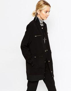 Пальто-Пилот Из Нетканого Крепа С Пуговицами Черный ASOS WHITE                                                                                                              чёрный цвет