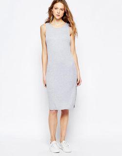 Платье Миди В Рубчик Без Рукавов Вереск-Серый Splendid                                                                                                              серый цвет