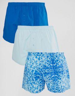 Набор Из 3 Тканых Боксеров С Аквапринтом Asos                                                                                                              синий цвет