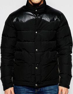 Водонепроницаемая Дутая Куртка С Кожаной Кокеткой Pelham Penfield                                                                                                              черный цвет