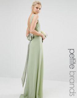 Свадебное Платье Макси С Сатиновым Бантом Сзади TFNC Petite                                                                                                              зелёный цвет