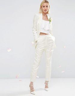 Жаккардовые Брюки Bridal Белый Asos                                                                                                              белый цвет