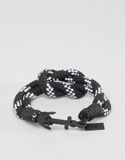 Плетеный Браслет В Полоску С Якорем Черный Icon Brand                                                                                                              чёрный цвет