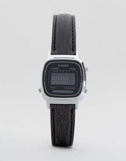 Часы С Черным Кожаным Ремешком La670wel-1bef Черный Casio                                                                                                              черный цвет