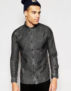 Джинсовая Рубашка Черный Another Influence                                                                                                              чёрный цвет
