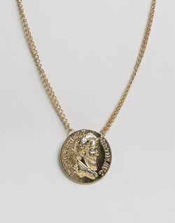 Золотистое Ожерелье С Oversize-Монетой Золотой Asos                                                                                                              золотой цвет