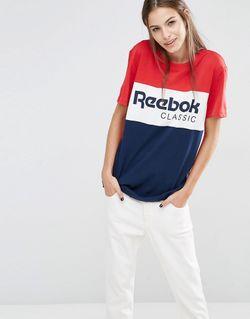 Красно-Синяя Oversize-Футболка С Логотипом Красный Reebok                                                                                                              красный цвет
