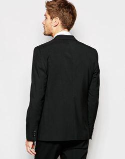 Черный Эластичный Пиджак Слим Черный Asos                                                                                                              чёрный цвет