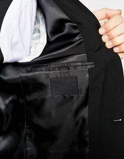 Черный Эластичный Пиджак Слим Черный Asos                                                                                                              черный цвет