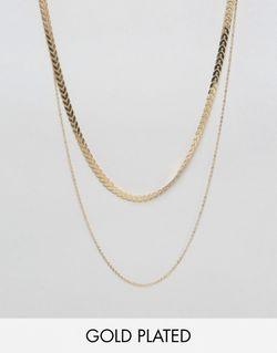 Позолоченное Ожерелье В Два Ряда С Золотым NYLON                                                                                                              С Золотым Покрытием цвет
