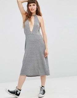 Elysia Halter Dress With Plunge Front Серый NYTT                                                                                                              None цвет