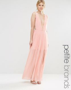 Платье Макси Со Складками И Глубоким Вырезом Boohoo Petite                                                                                                              Blush цвет