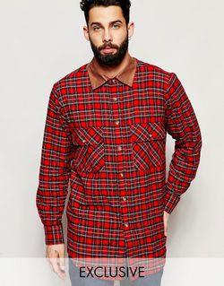 Рубашка В Крупную Клетку С Вельветовым Воротником Reclaimed Vintage                                                                                                              красный цвет