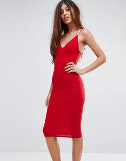 Платье-Миди С Бретельками Красный Club L                                                                                                              красный цвет