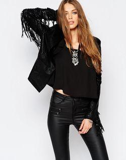 Строгая Куртка Из Искусственной Кожи С Бахромой WYLDR                                                                                                              чёрный цвет
