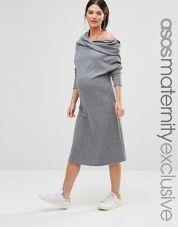 Lounge Slouchy Dress With Cowl Neck Серый ASOS Maternity                                                                                                              None цвет