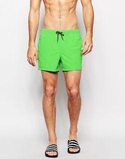 Неоново-Зеленые Короткие Шорты Для Плавания Неоновый Зеленый Asos                                                                                                              зелёный цвет