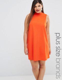 Платье С Присборенной Юбкой И Высоким Воротом AX Paris                                                                                                              оранжевый цвет