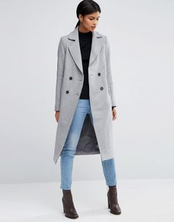 Wool Blend Coat With Raw Edges And Asos                                                                                                              None цвет