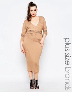 Платье-Футляр C Запахом Спереди Телесный Missguided Plus                                                                                                              Телесный цвет