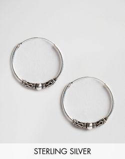 Серебряные Серьги-Кольца 18 Мм Серебряный Kingsley Ryan                                                                                                              Серебряный цвет