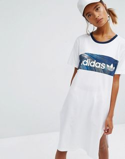 Originals Geology Print Block T-Shirt Dress Белый Adidas                                                                                                              None цвет