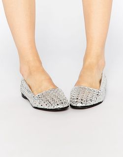 Кожаные Серебристые Туфли На Плоской Подошве Coco Hudson London                                                                                                              Серебряный цвет