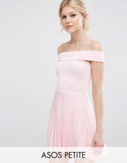 Плиссированное Платье Миди С Открытыми Плечами Телесный ASOS PETITE                                                                                                              Телесный цвет