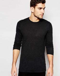 Удлиненный Хлопковый Джемпер С Круглым Вырезом Темно-Серый/Крученая Asos                                                                                                              серый цвет