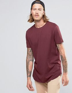 Longline T-Shirt With Curved Hem In Red Asos                                                                                                              None цвет